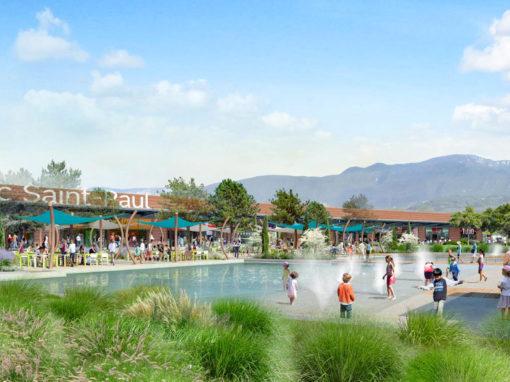 Bassin et jets d'eau au parc saint Paul Drôme