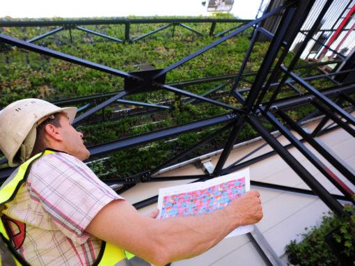 Vérification d'une installation de mur végétal par un salarié de Valente.